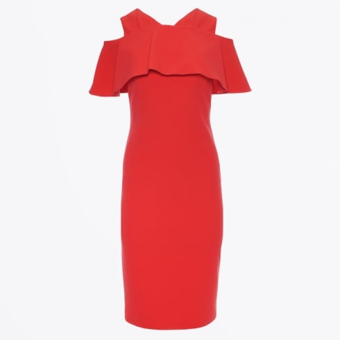 Genese - Zante Crepe Cold Shoulder Dress - Coral