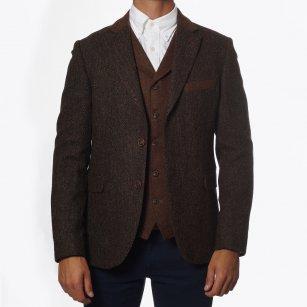 | Herringbone Contrast Trim Jacket - Brown