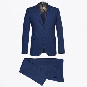 | Three Piece Linen Blend Suit - Cobalt