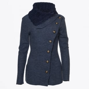 | Longer Button Jacket with Pockets - Blue