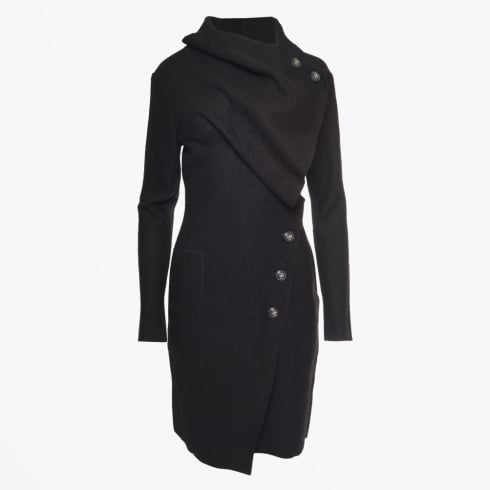 Gro À Live - Mid Length Boiled Wool Jacket - Black