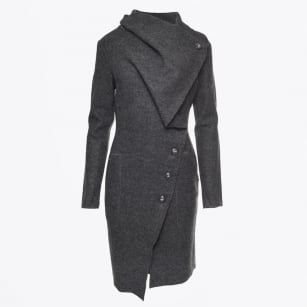 - Mid Length Boiled Wool Jacket - Charcoal