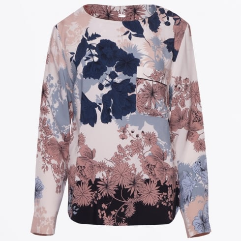 Gustav - Floral Print Top - Cream/Navy