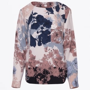 - Floral Print Top - Cream/Navy