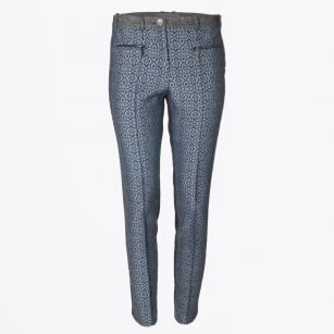 - Patterned Straight Leg Trousers - Grey