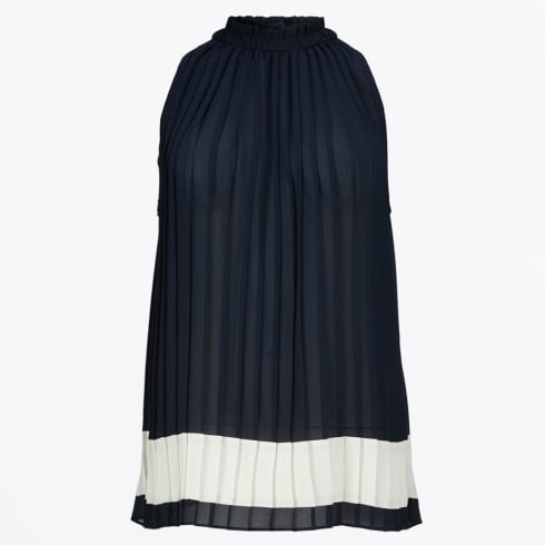 Gustav - Pleated Colour Block Top - Navy