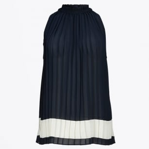 - Pleated Colour Block Top - Navy