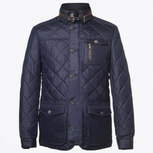 | Kent Quilted Elbow Detail Coat - Dark Blue