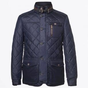 | Kent Quilted Elbow Detail Coat - Dark Blue