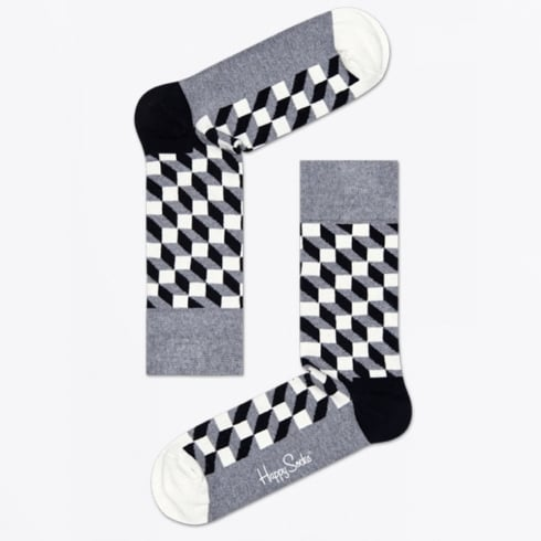 Happy Socks - Filled Optic Socks - Grey/Black
