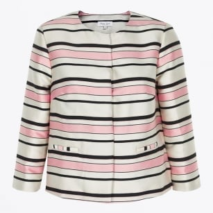| Hazel Striped Jacket - Pink / White