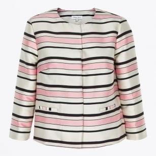 | Hazel Striped Jacket - Pink / White