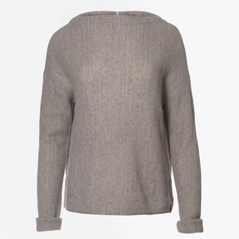Henry Christ - Cashmere Funnel Neck Jumper - Light Taupe