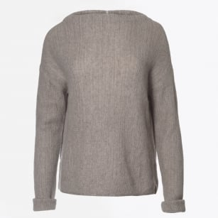 | Cashmere Funnel Neck Jumper - Light Taupe
