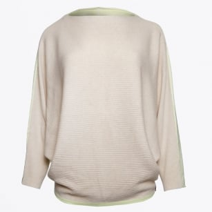 - Contrast Colour Cashmere Sweater - Champagne