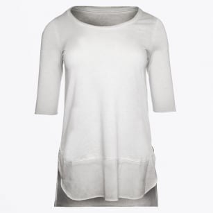 | Scoop Neck Silk Trim Top - Grey