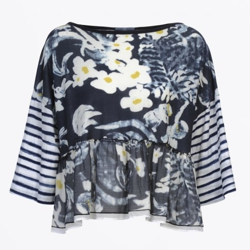 HIGH - Admire Painted Floral & Stripe Blue Top