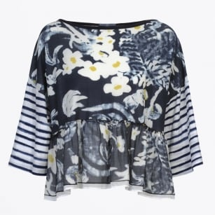 - Admire Painted Floral & Stripe Blue Top