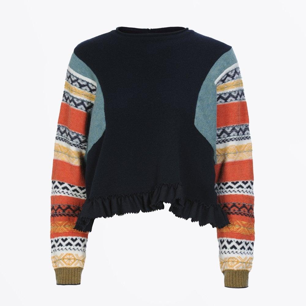 e9d9b3a52 HIGH - Amplify Fair Isle Sleeve Knit - Navy Blue - Mr   Mrs Stitch