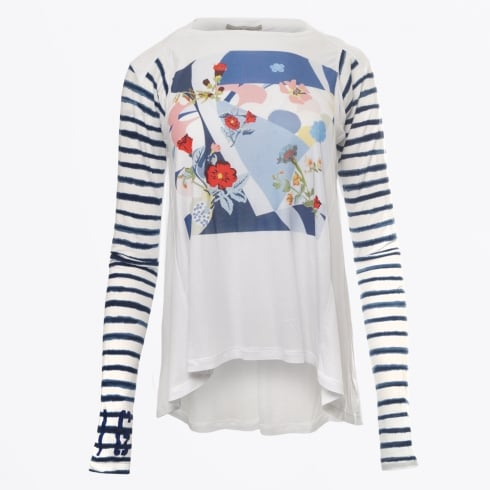 HIGH - Artist Long Sleeved Floral Print Top - White