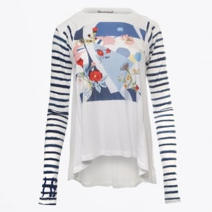 - Artist Long Sleeved Floral Print Top - White