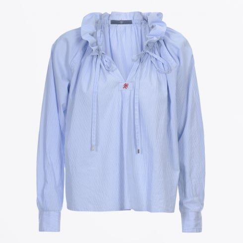 HIGH - Bacall Raglan Sleeve Stripe Shirt - Light Blue