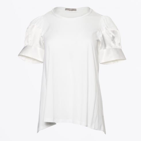 HIGH - Beaming - Puff Sleeve Top with Satin Trim - White