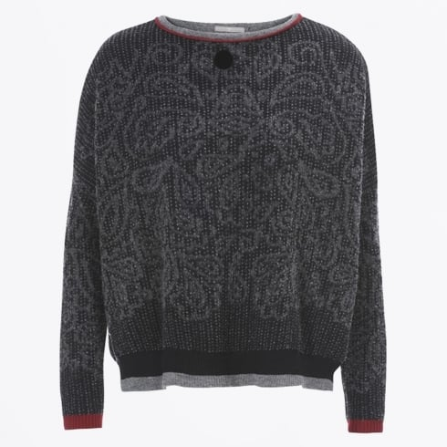 HIGH - Boyar - Grey & Black Paisley With Red Sweater