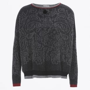 - Boyar - Grey & Black Paisley With Red Sweater