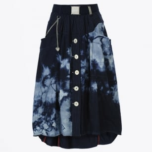 - Charade Pattern Button Front Skirt - Navy