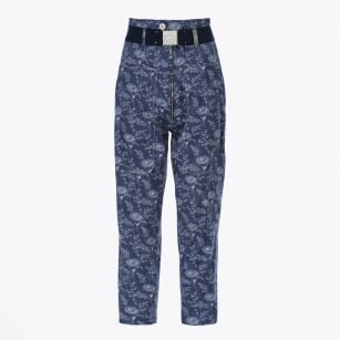 - Clamber Neo Vintage Floral Pant - Blue & White