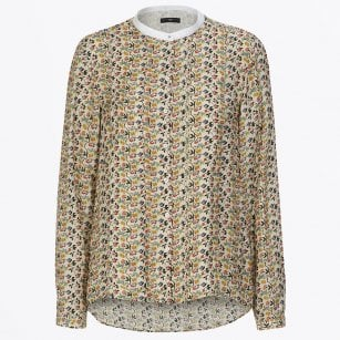 - Combo - Floral Print Top with Grandad Collar - Beige