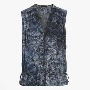 | Covet - Abstract Print Top - Blue