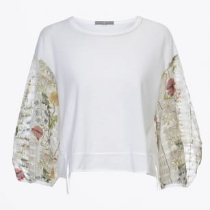 - Darling Jersey Top with Long Floral Sleeves - White