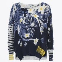 - Emotive Variegated Sleeve Floral Cotton Knit - Blue