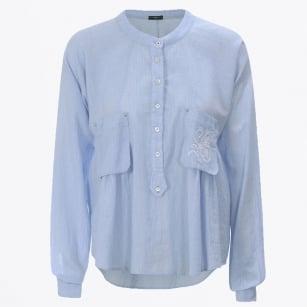 | Ethos - Seersucker Embroidered Cotton Shirt - Blue