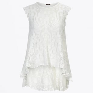 - Eventful Lace Trim Top - White