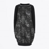 - Friend - Drawstring Back Printed Dress - Black