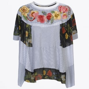 - Fusion Flower Print Top - Blue