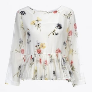 - Gaze Long Sleeve Floral Top with Gathered Peplum - White