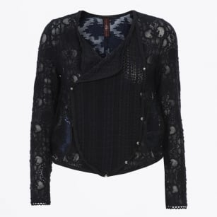- Introduce Lace & Embroidered Organza Sheer Jacket - Navy