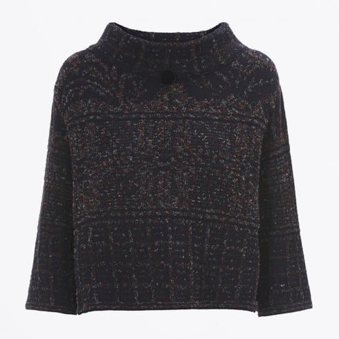 High - Kilim Patterned Cropped Funnel neck Knit