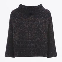 - Kilim Patterned Cropped Funnel neck Knit
