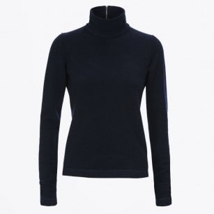 - Lure - Polo Knit With Zip Detail - Navy