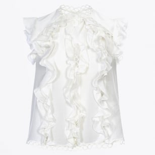 - May Day Ruffle Top - White