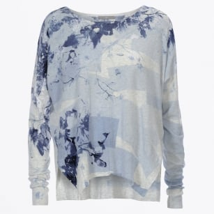 - Melodic Cotton Knit With Abstract Blue Print
