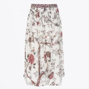 | Melody Maxi Skirt | White/Red Print