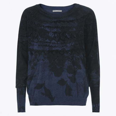 High - Metaphor Blue To Black Flock Print Knit