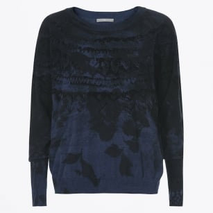 - Metaphor Blue To Black Flock Print Knit