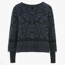 - Plush - Blue On Blue Flock Banded Neck Knit